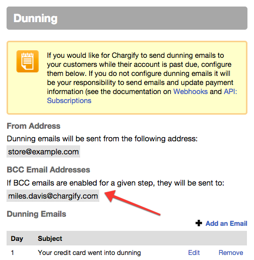chargify dunning email settings