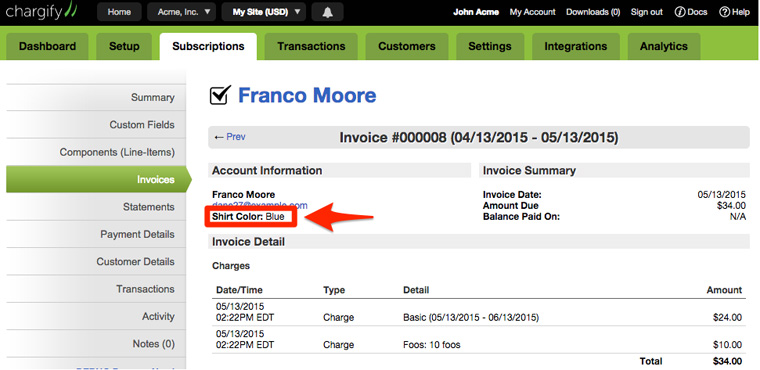 custom-field-invoice-view