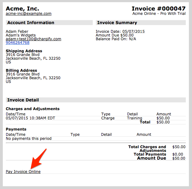 Invoice billing now allows customers to pay invoices online