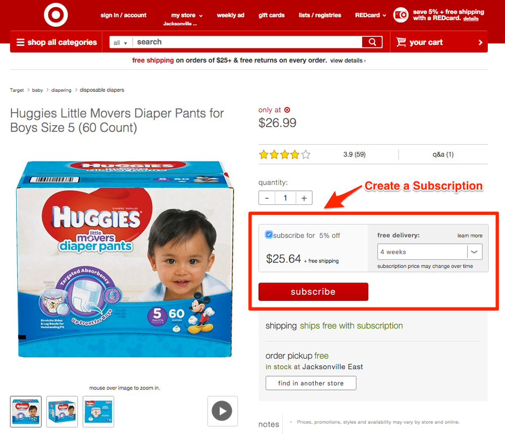 Target subscription diapers