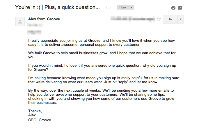 updated welcome email Groove