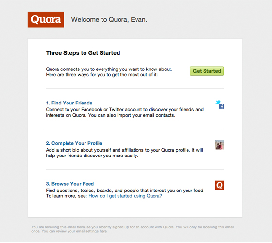 saas welcome email quora
