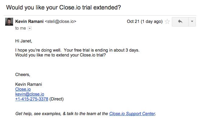SaaS trial length close.io