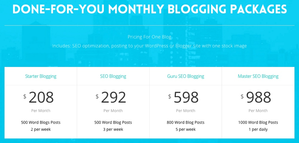 Blog Services Subscription Pricing