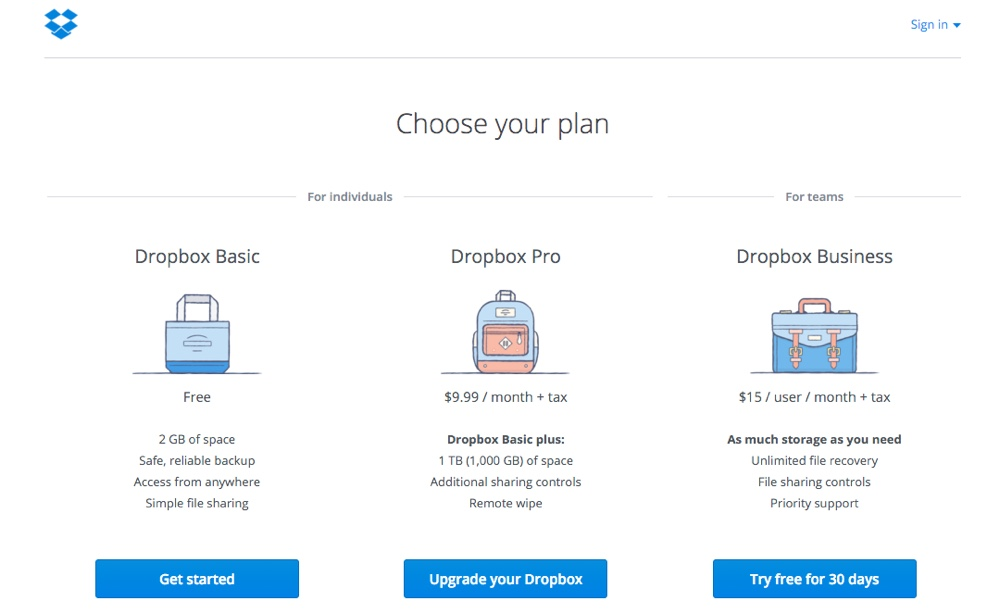 dropbox subscription pricing plans
