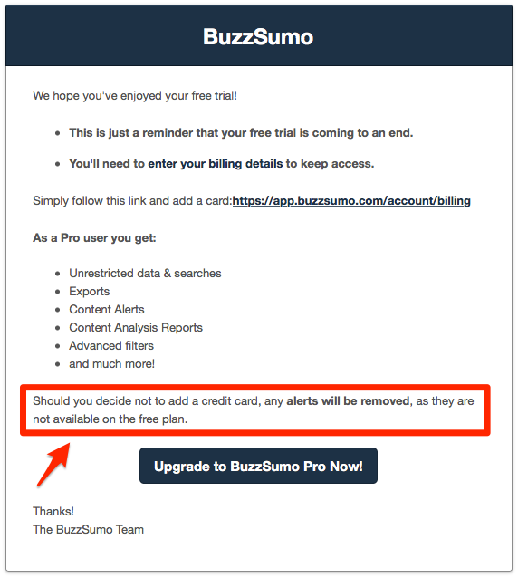 buzzsumo trial ending email