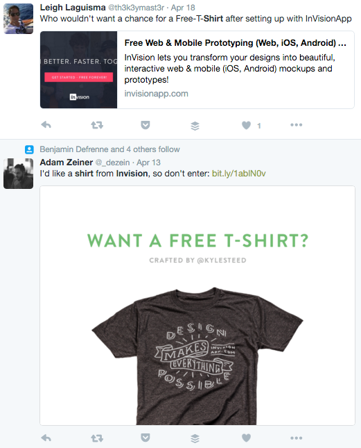 invision tshirt giveaway lead generation