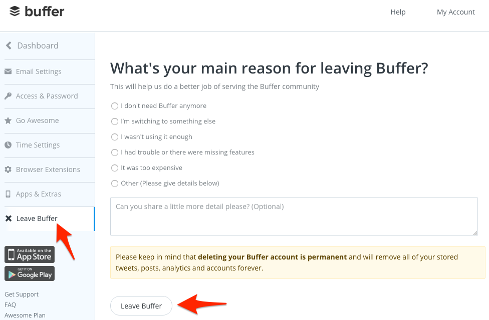Buffer cancellation prevent chargebacks
