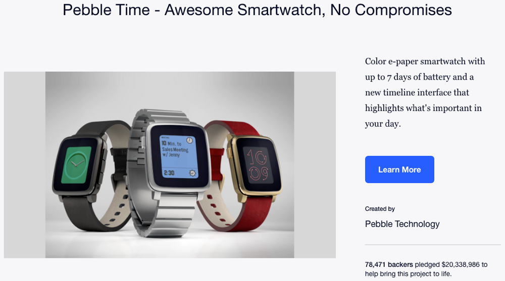 pebble kickstarter pre-order success