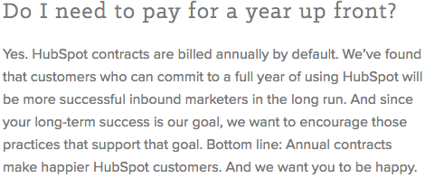 Hubspot Annual Pricing Benefits