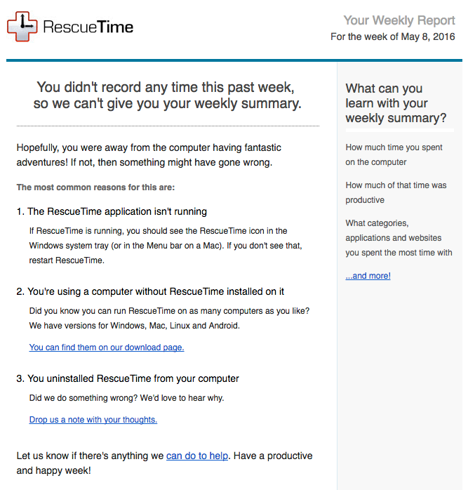 RescueTime email get users back
