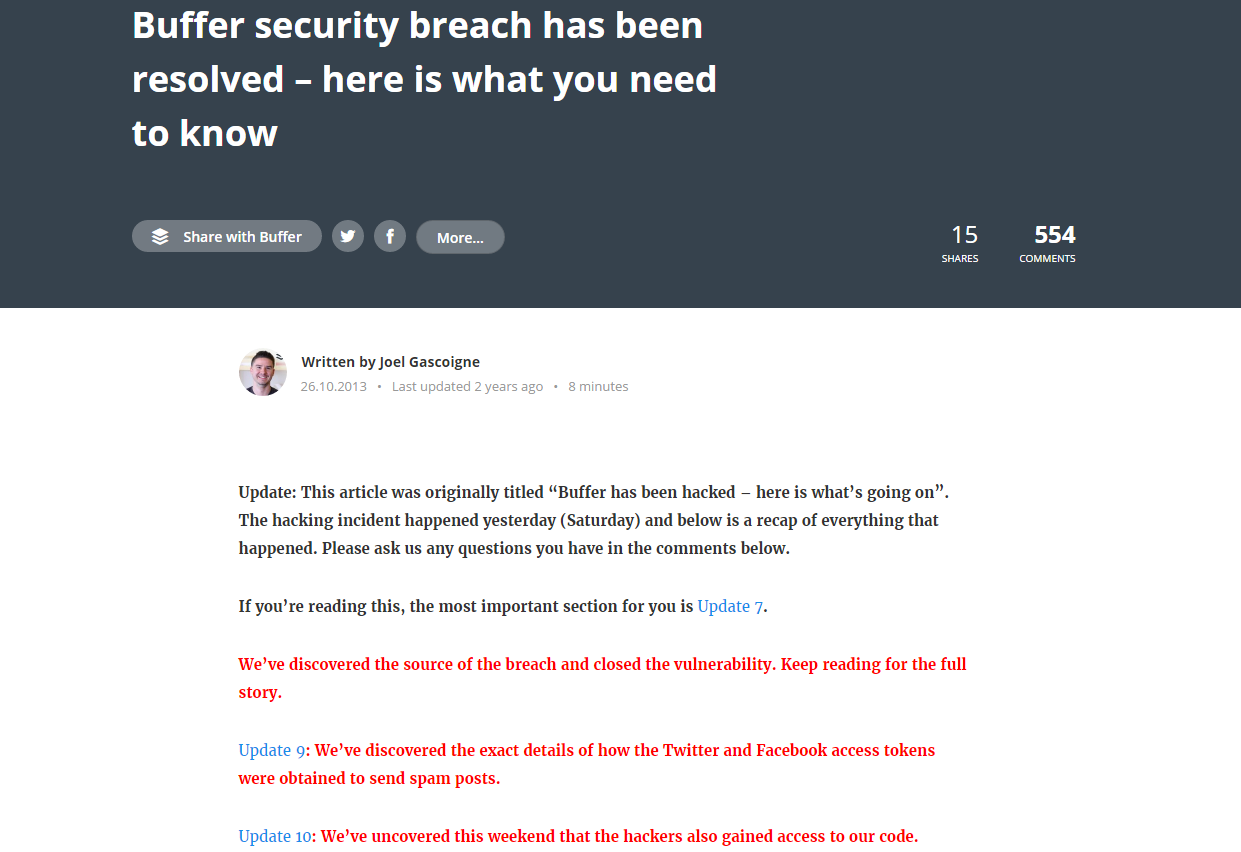 Buffer security breach response