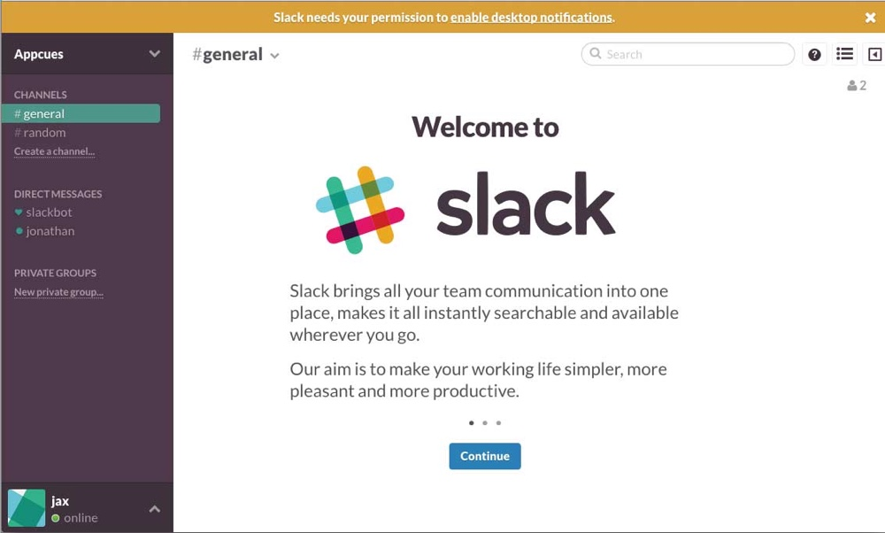 slack old welcome screen