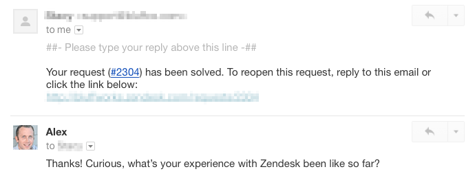 alex conversation with zendesk user