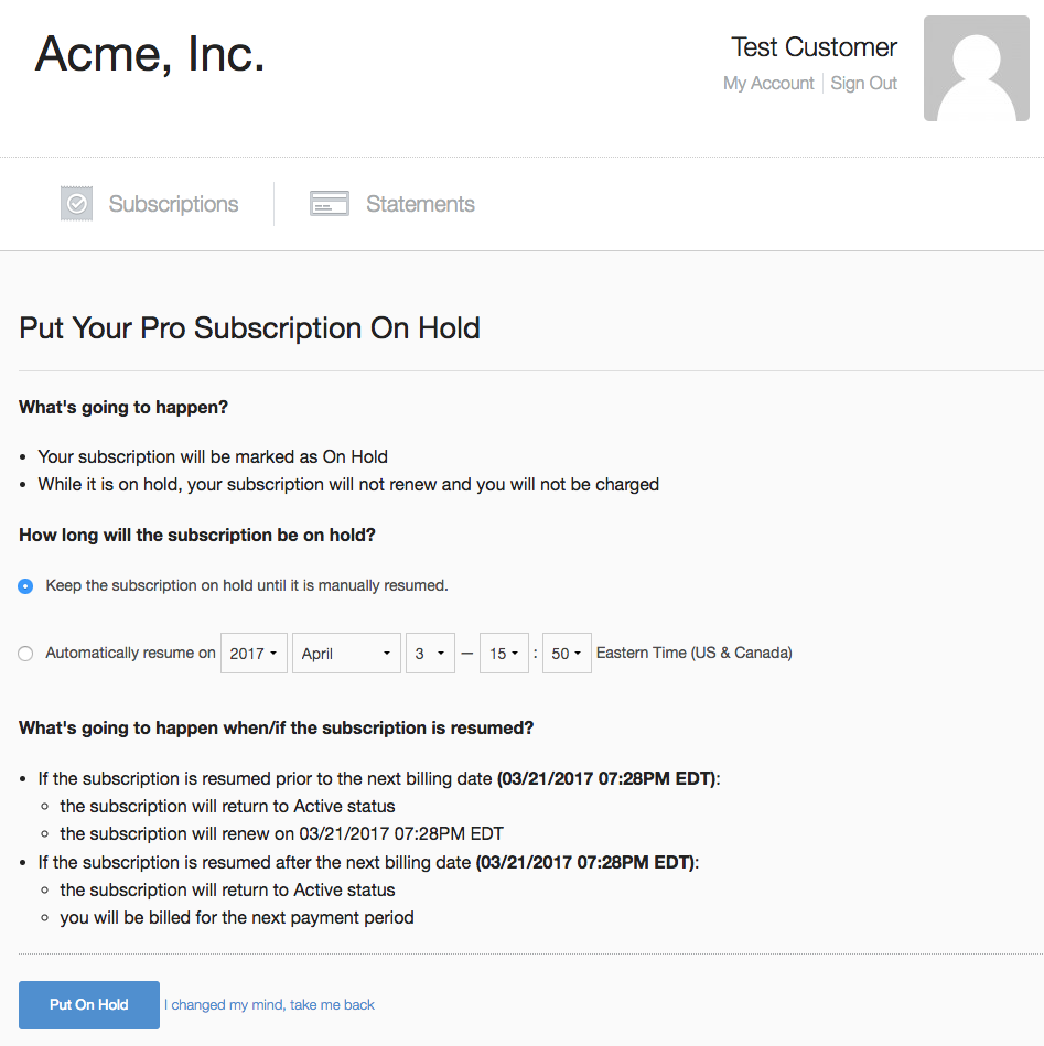 Subscription On Hold Allows Customers To Pause & Resume Their ...