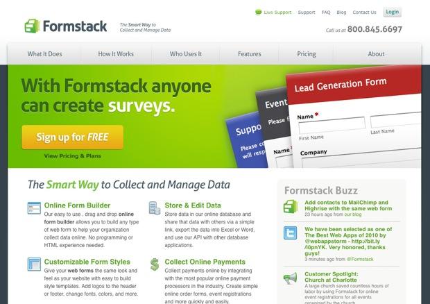Formstack 2010 website