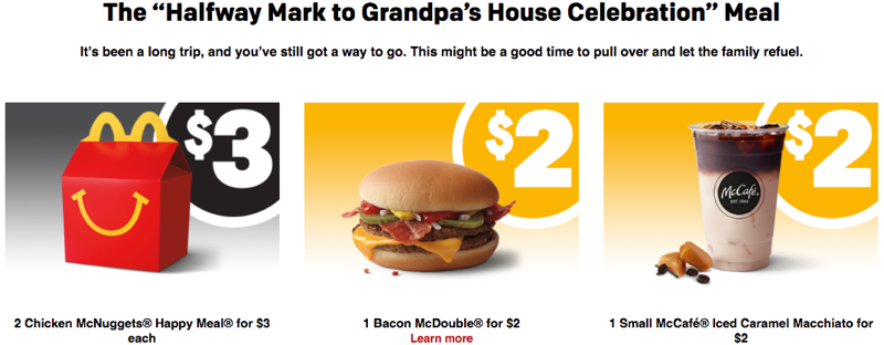 pricing customized mcdonalds meal