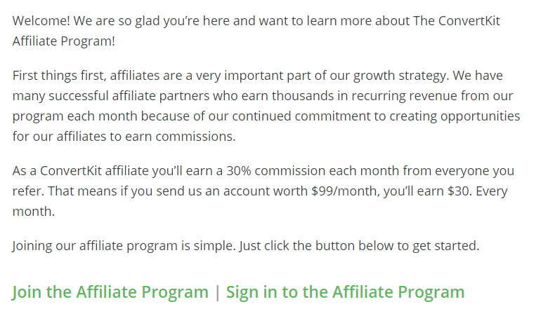 Screenshot of ConvertKit's affiliate program signup page as an example of a successful affiliate program.