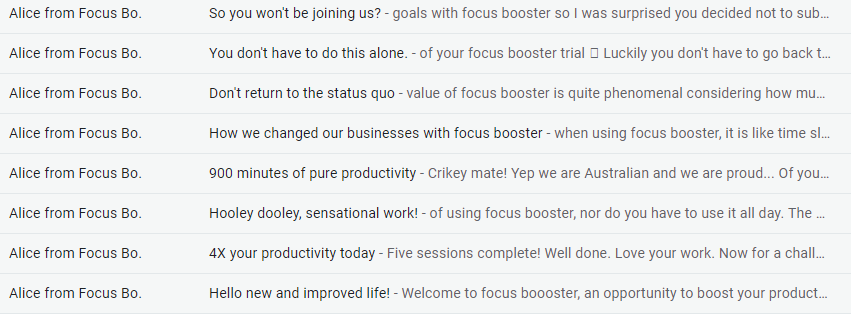 Screenshot of FocusBooster customer engagement emails.