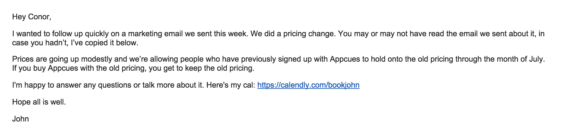 Screenshot of email that Appcues CEO personally sent to customers about pricing change