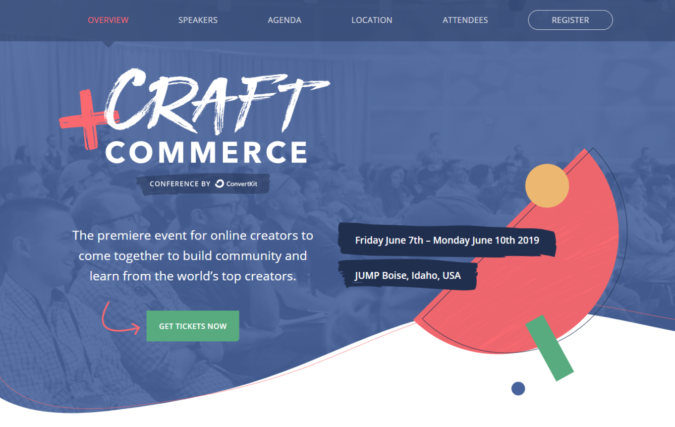 Screenshot of the homepage for the Craft+Commerce conference series