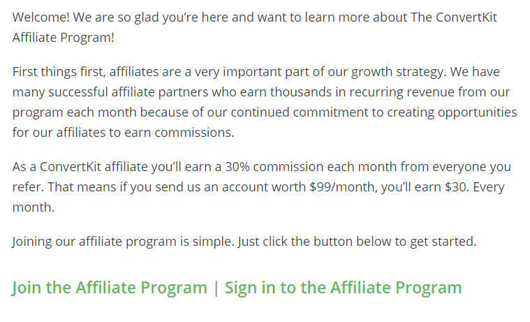 Screenshot of an overview of ConvertKit's affiliate program
