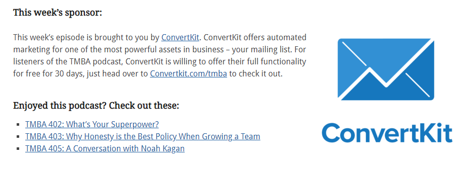Screenshot of ConvertKit mentioned as a sponsor on TMBA's podcast