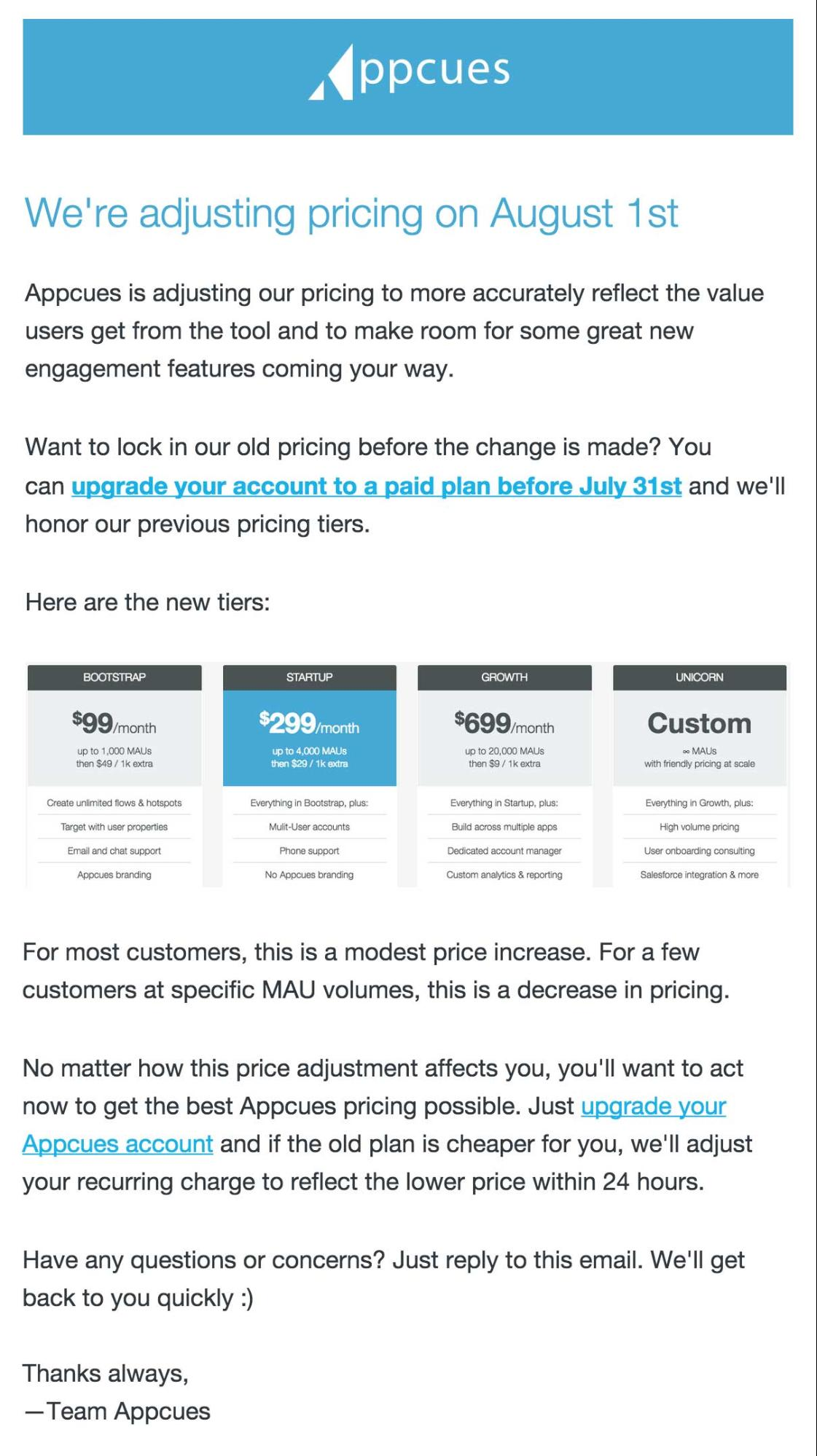 Appcues' email to customers notifying them of an upcoming pricing change