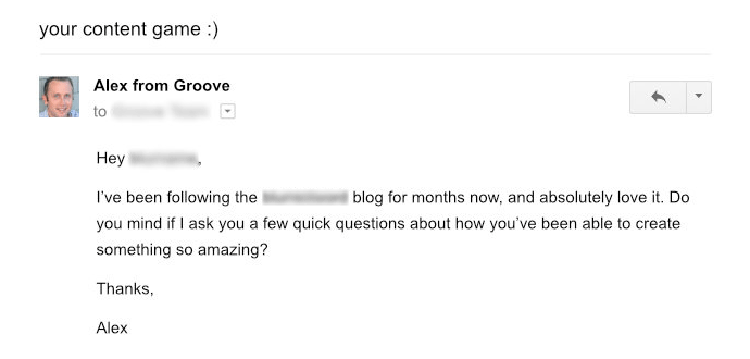 Screenshot of an email from Groove's CEO to content marketers