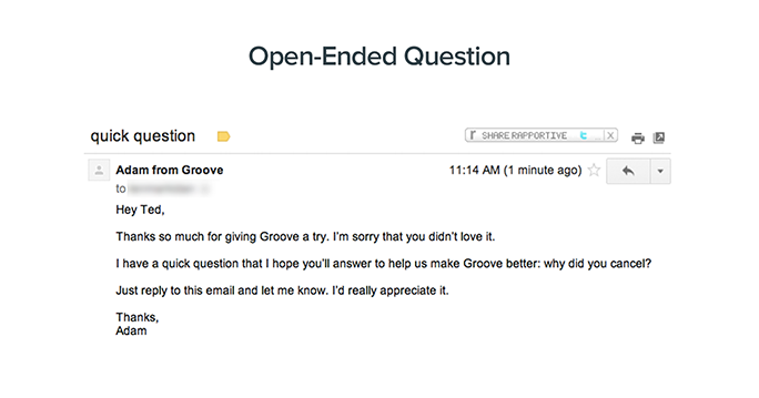 Screenshot of Groove CEO's email to a customer that canceled