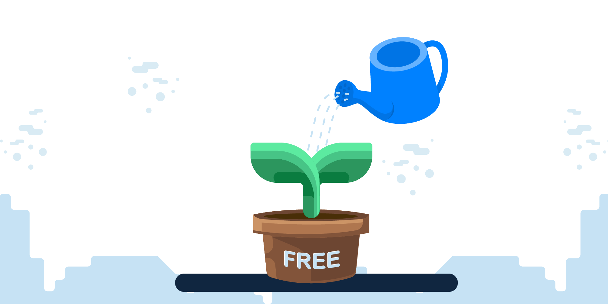"Image showing a watering can watering a pot labeled ""free"""