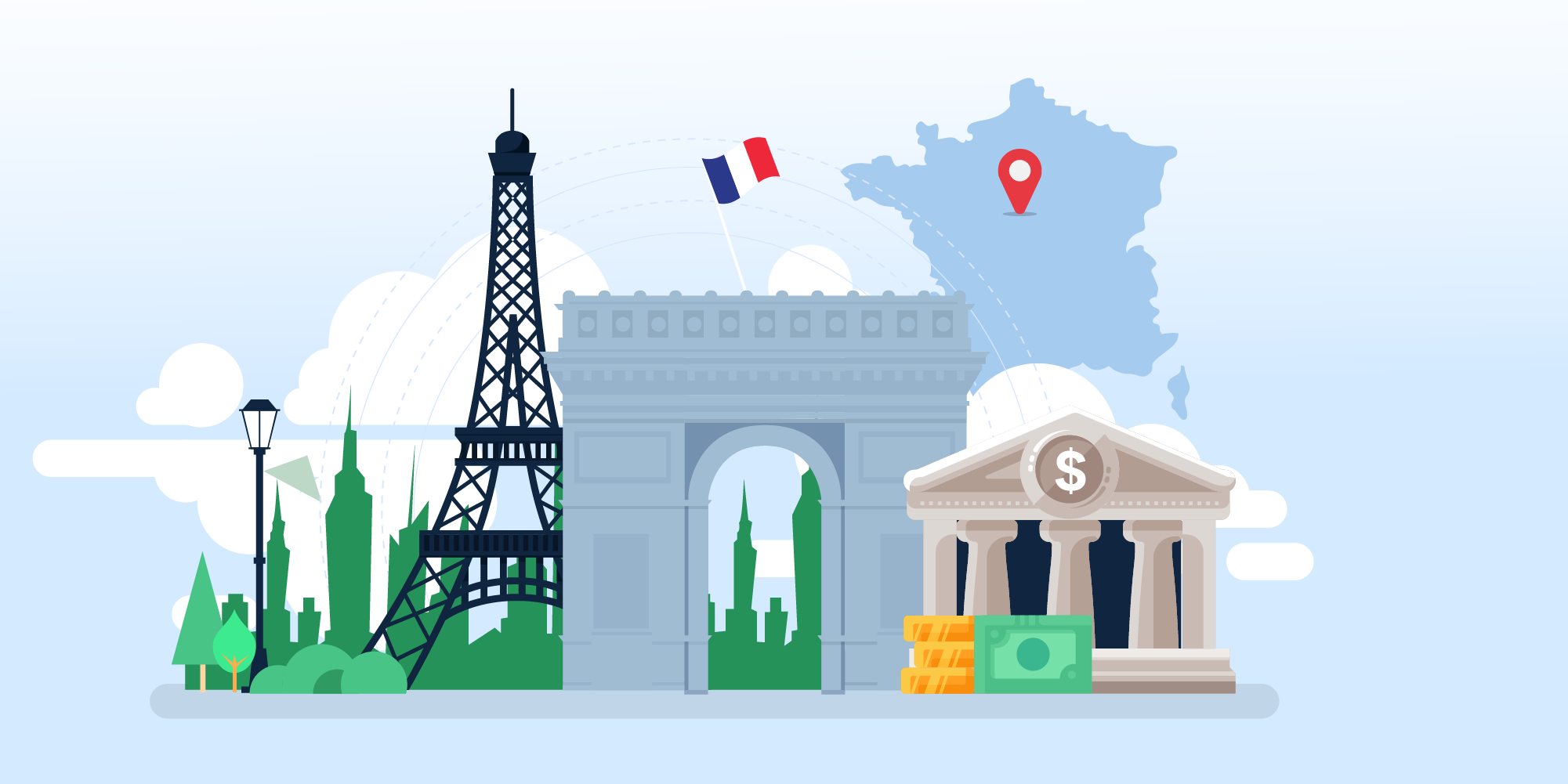 Image showing French landmarks, including the Senate Building after they passed a digital tax impacting SaaS businesses.