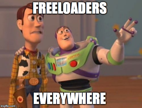 Toy Story characters meme about freeloaders