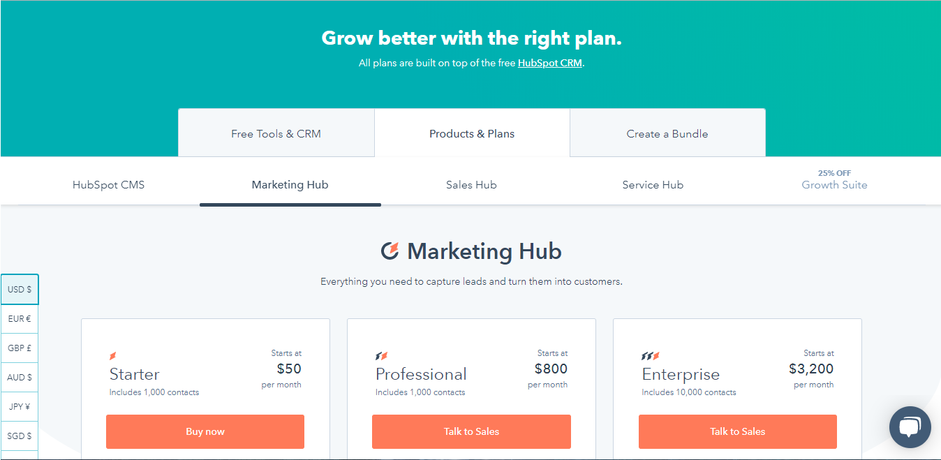 Screenshot showing HubSpot's various pricing options offered today