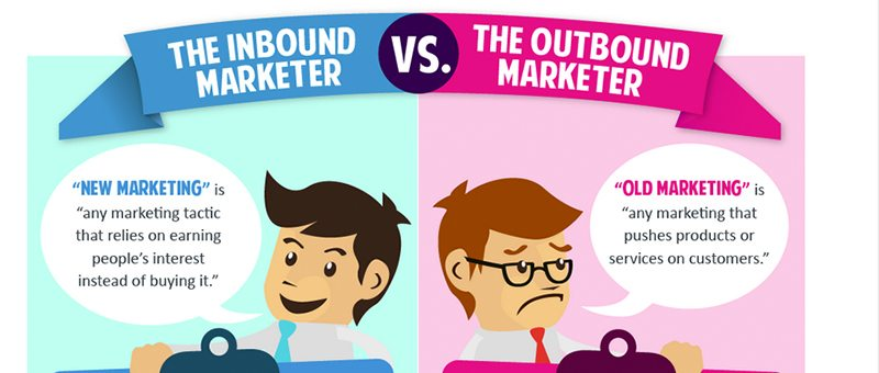 Image explaining the inbound marketing approach vs. outbound marketing