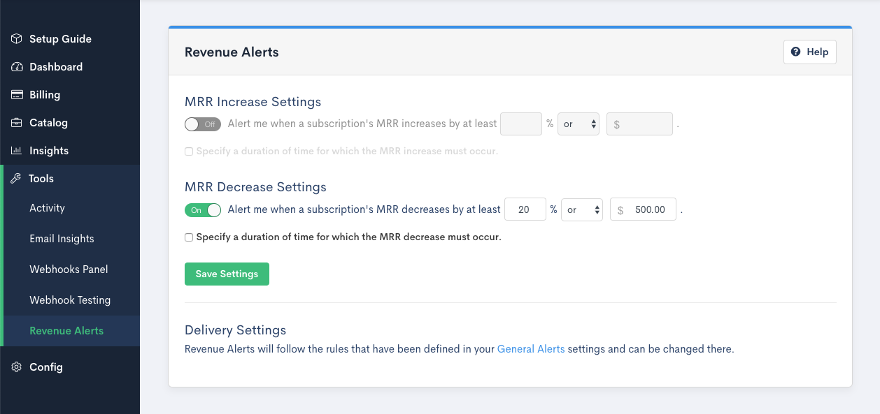 Screenshot of Chargify's Revenue Alerts tool