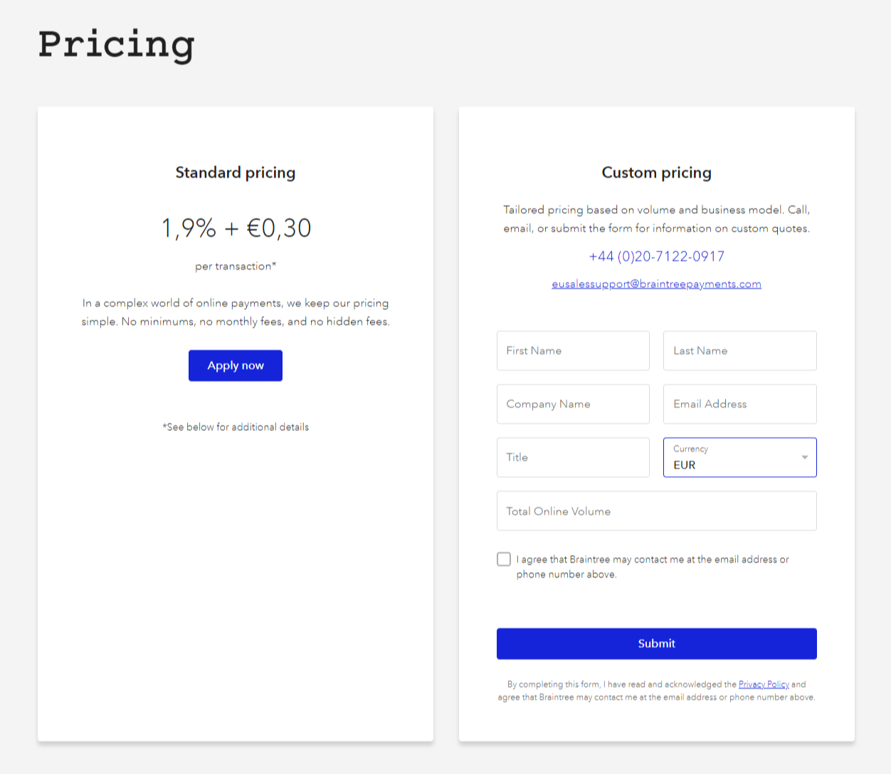 Braintree Payment Processing Tool Pricing Webpage