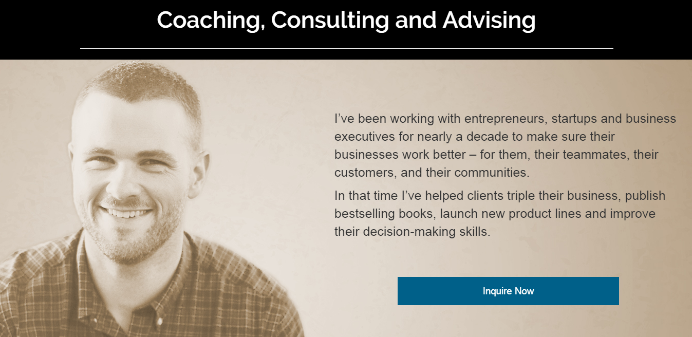 Screenshot of an overview for Taylor Pearson's entrepreneur consulting