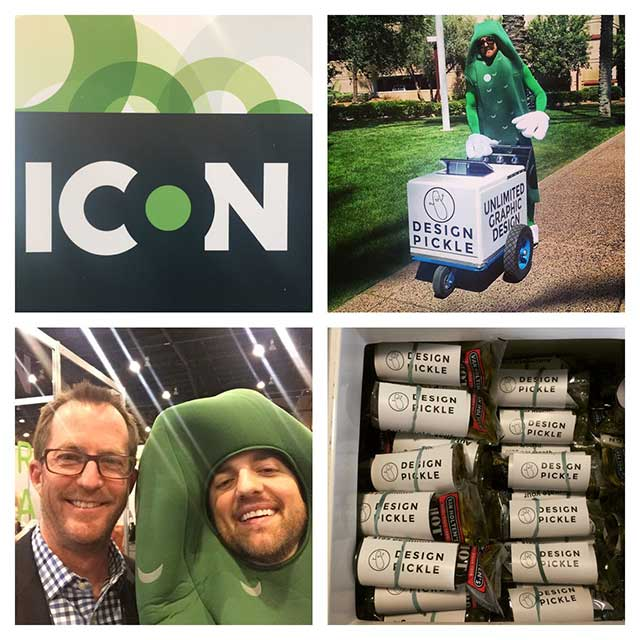 Pictures of Russ Perry promoting his company Design Pickle by passing out pickles at conferences