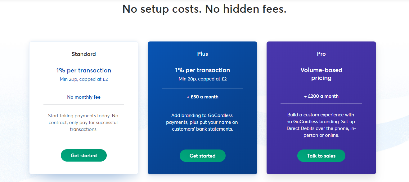 GoCarless Payment Processing Tool Pricing Webpage