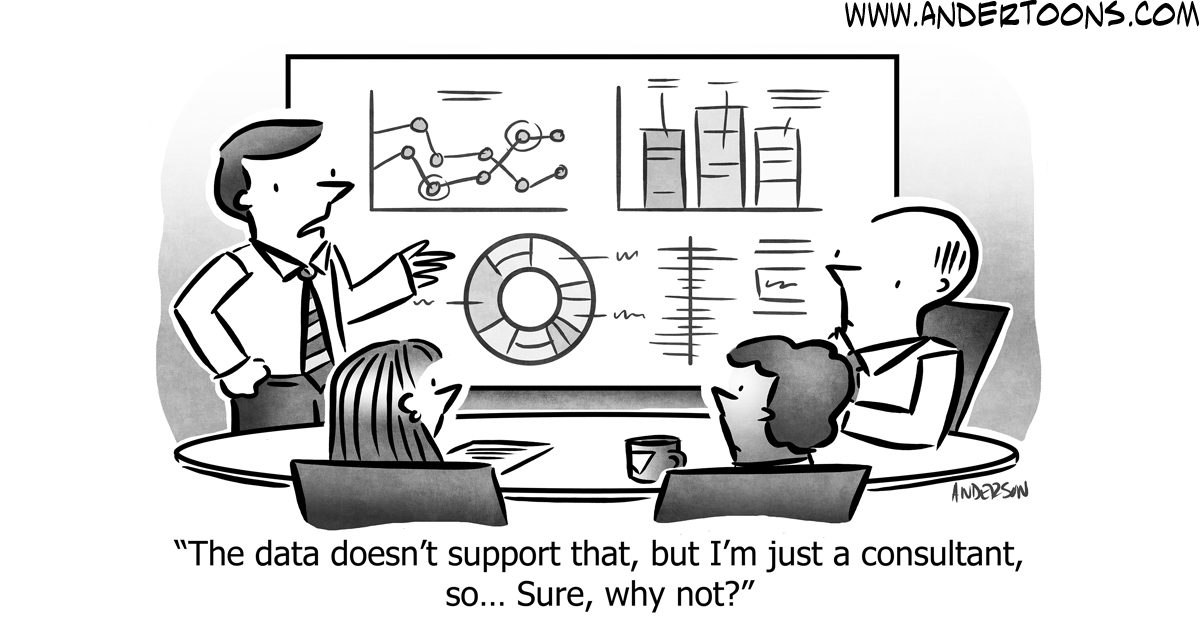 Cartoon image showing employees planning on whiteboard