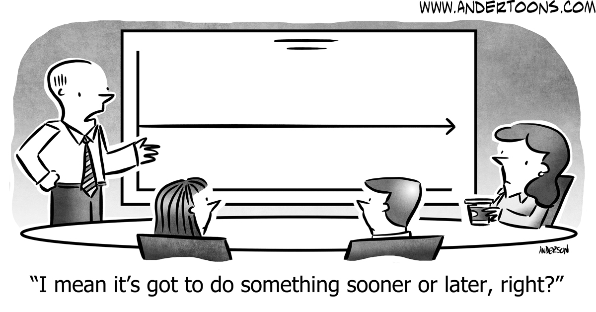 Cartoon showing employees planning on a whiteboard