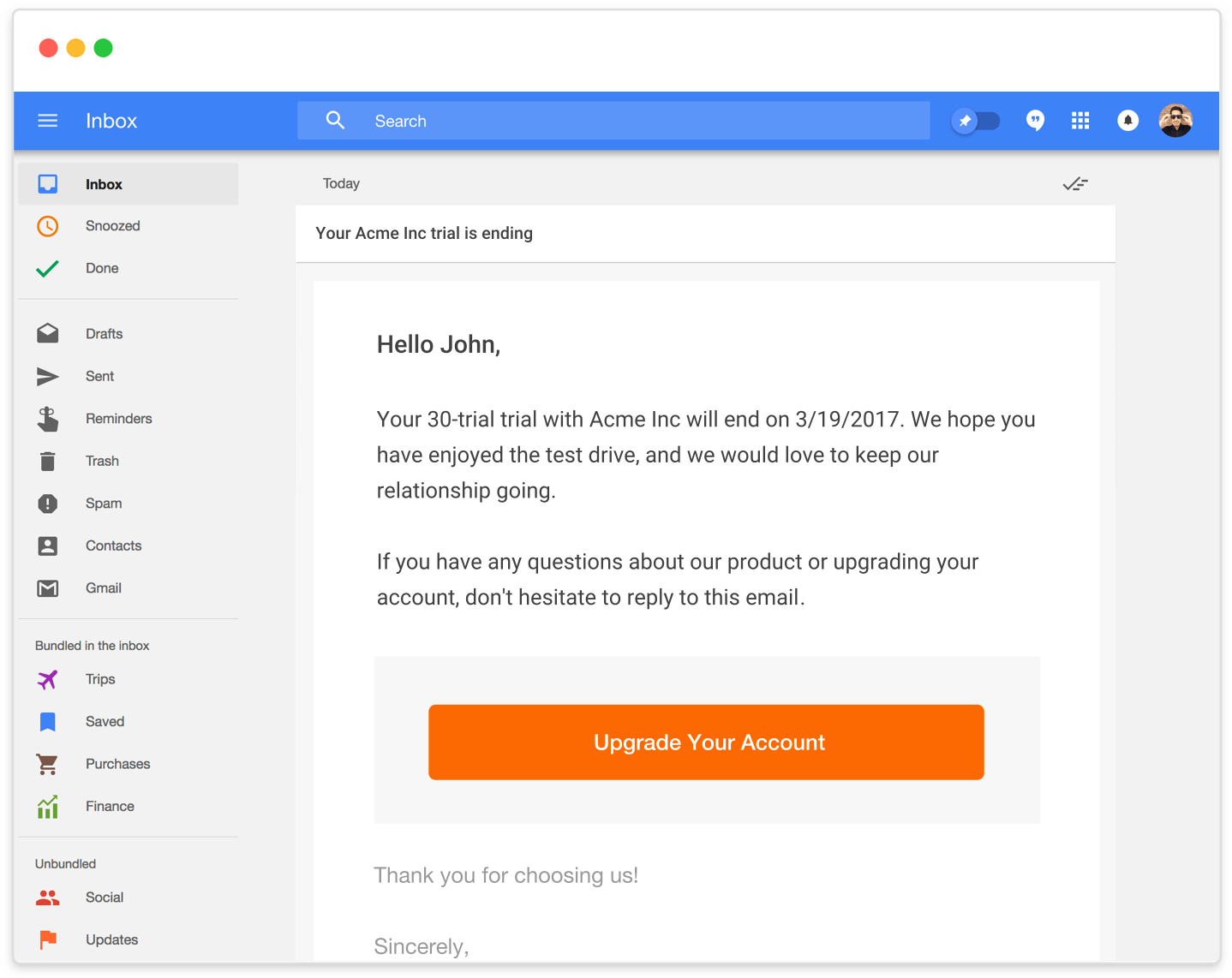 Inbox Example Email Trigger Communication From The Number One SaaS B2B Billing Solution - Chargify.