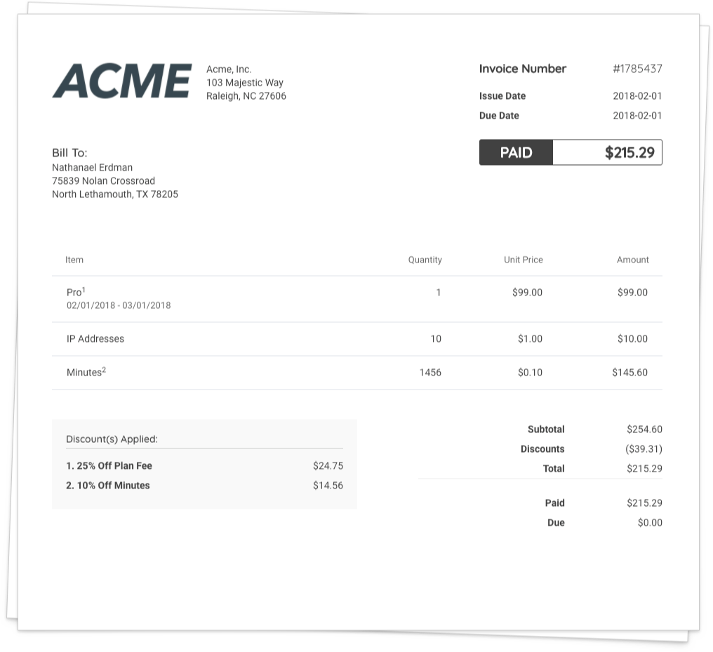 Chargify UX Graphic Of An Itemized Invoice For Acme. Chargify is recognized as The Number One SaaS B2B Billing Solution.