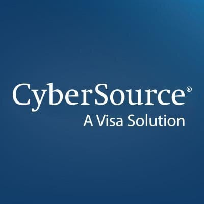A Square Blue With White Left Gradient Logo For CyberSource, A Trusted Partner of Chargify The Number One SaaS B2B Billing Solution.