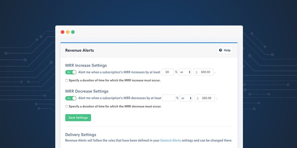 Image of Avenue Alerts Interface to Monitor Subscription Activity. Chargify the #1 SaaS B2B Billing Solutions Website.
