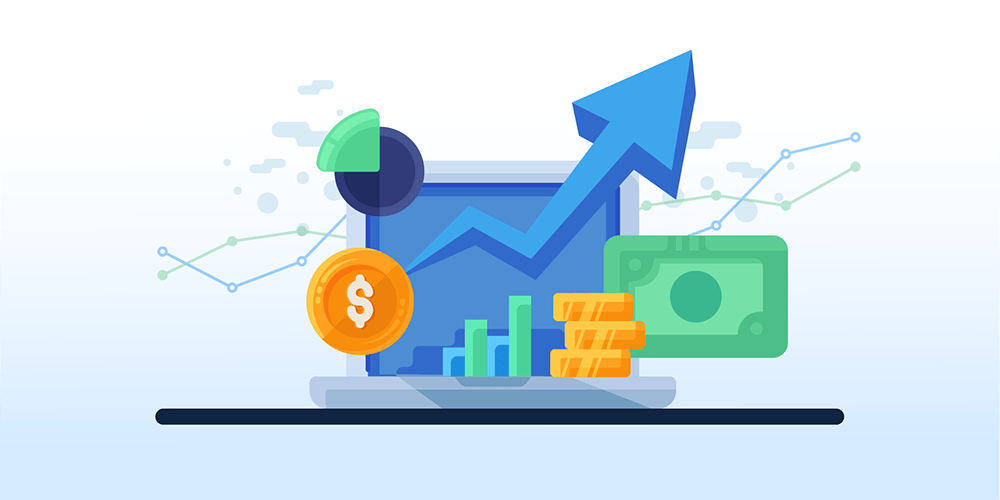 Chargify Graphic Displays A Laptop With Graph Chart, Gold Coins And Money. Chargify the #1 B2B SaaS Billing Solutions Website.