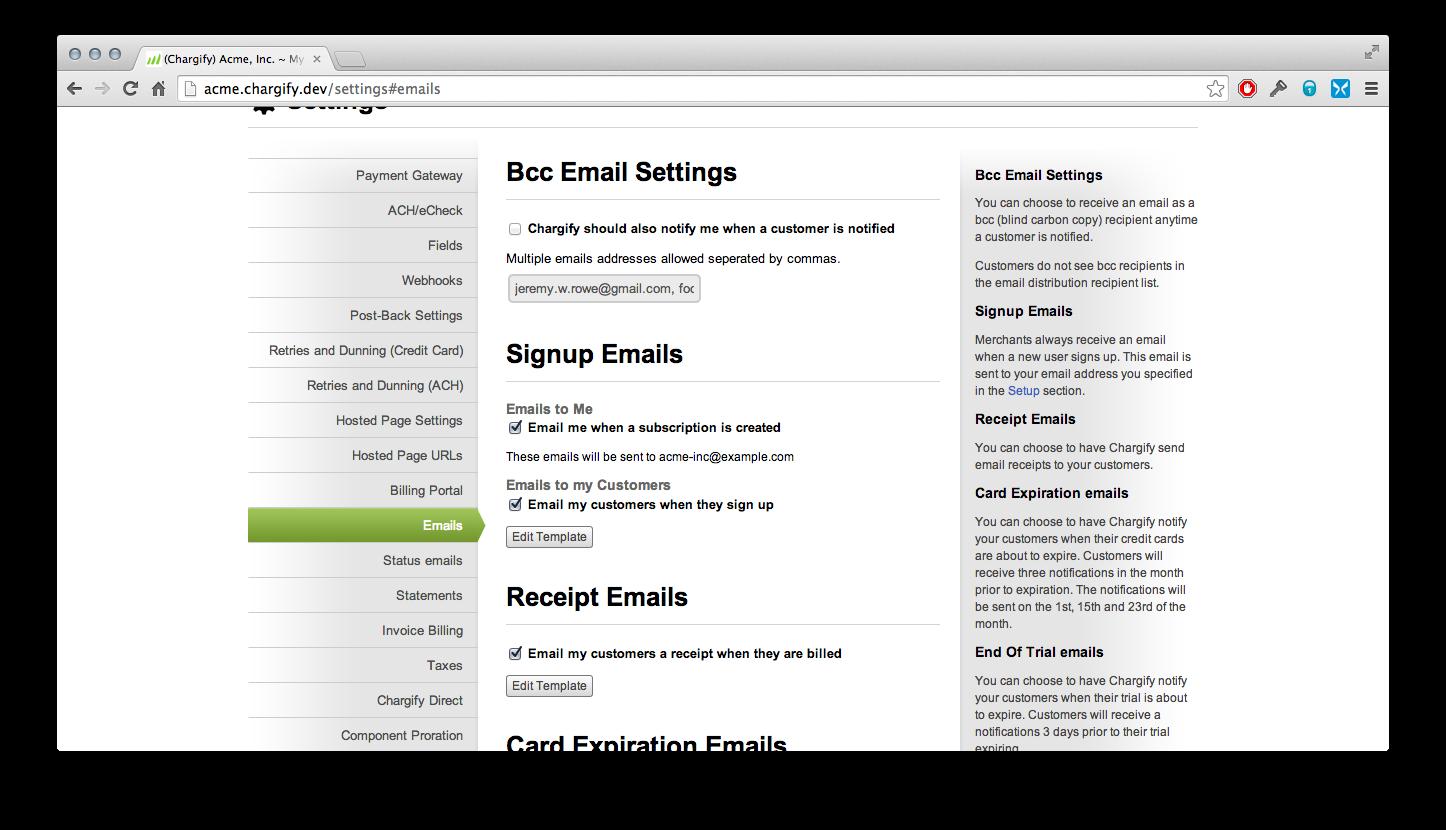 Chargify custom emails