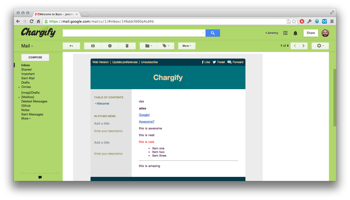 chargify custom emails to subscribers