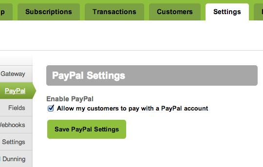 Chargify PayPal setting
